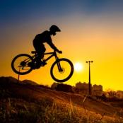 Silhouette Of Stunt Bmx Rider - color tone tuned